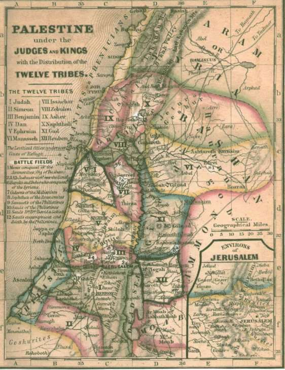 Palestine under the Judges an dKings with the Distribution of the Twelve Tribes_map