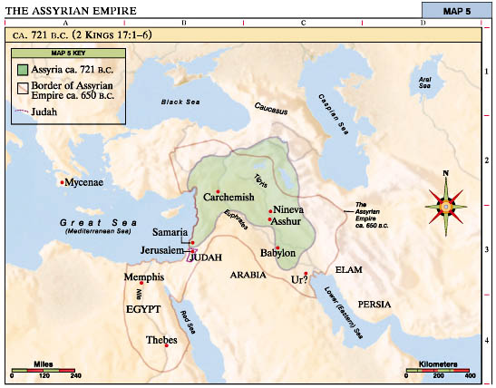 assyrian empire Assyria noun an ancient kingdom of n mesopotamia: it established an empire that stretched from egypt to the persian gulf, reaching its greatest extent between 721 and 633 bc.