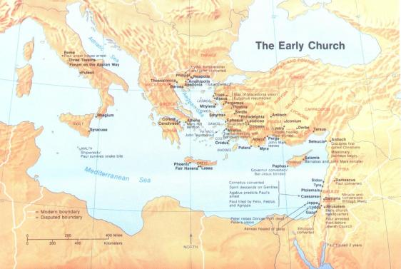 Map Showing Location of Important Events in Early New Testament Church