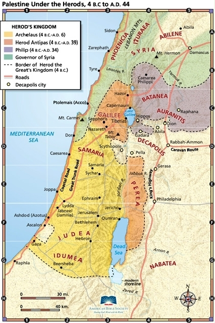 Biblical Map of Palestine under the Herods 4 B.C. – 44 A.D.