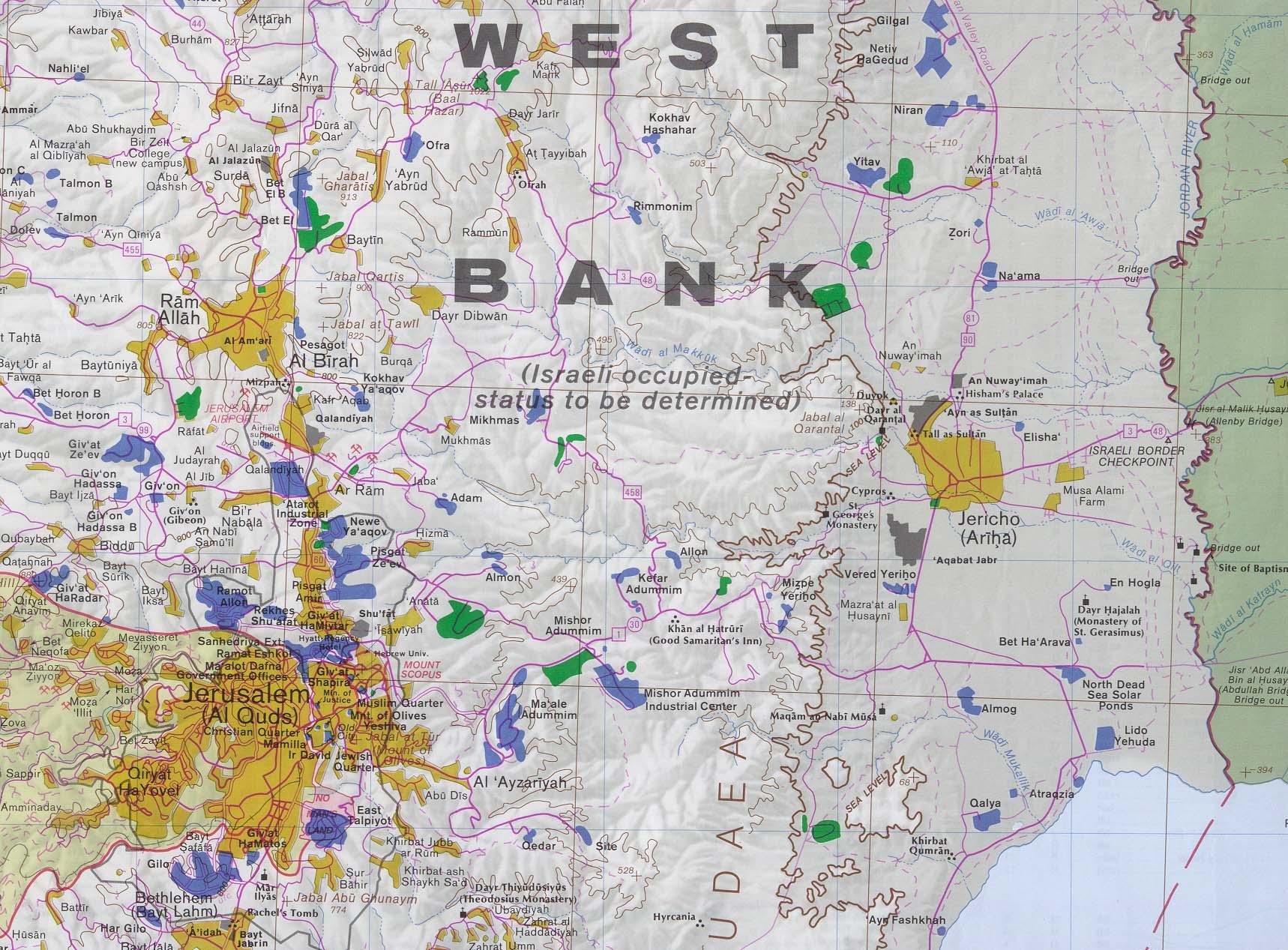 West Bank detail map Jerusalem and East Jesus Reigns