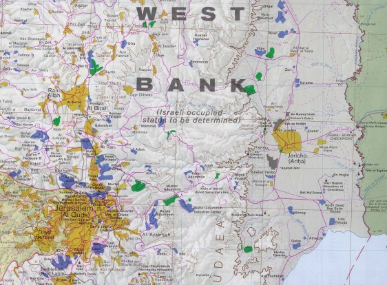 West Bank detail map - Jerusalem and East